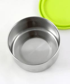 fiambrera tapa verde acero inoxidable