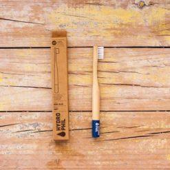 cepillo dientes azul niños ecologico bambu