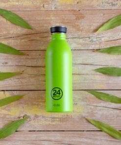 botella de acero verde lima