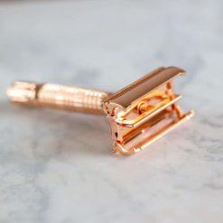 Maquinilla de afeitar reutilizable apertura mariposa - Cobre