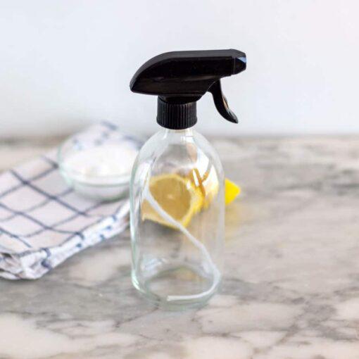 Botella de vidrio con pulverizador transparente - 500ml
