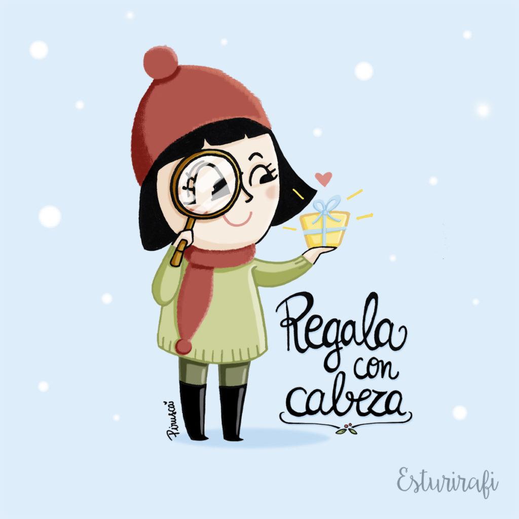Ilustracion de Pirusca para Esturirafi Navidad con Cabeza