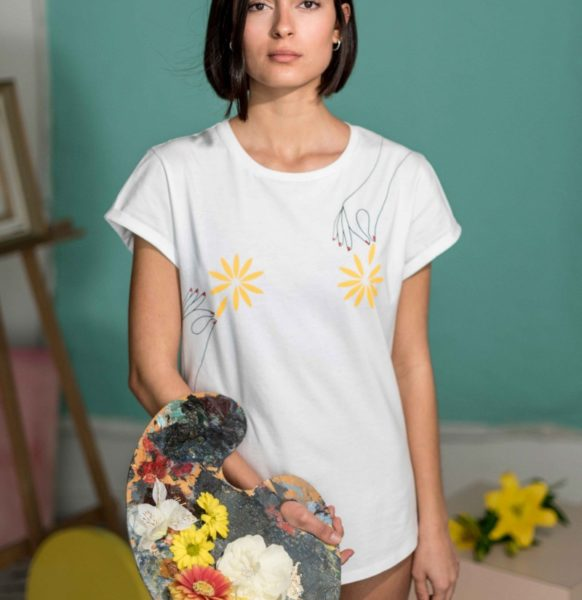 Camiseta-Algodón-Flores-Crisálida-moda-slow