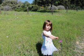 niña prado verde