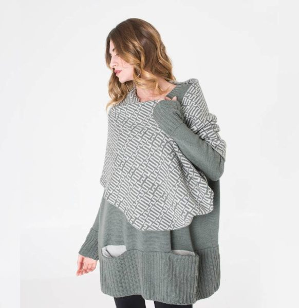Moda-sostenible-Irema-Slow-Fashion-cuello-lana-reversible-estampado-verde
