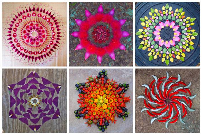 Kathy Klein, crea mandalas contemporáneos a los que ella llama danmalas (el que da guirnaldas en sánscrito). Utiliza pétalos, flores, frutos...