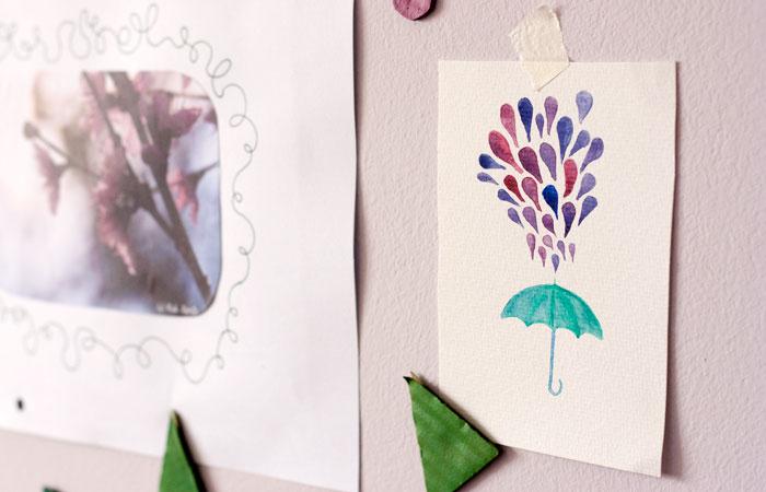 Acuarela paraguas con gotas