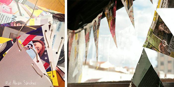 Detalle de los banderines hechos con hojas de revista