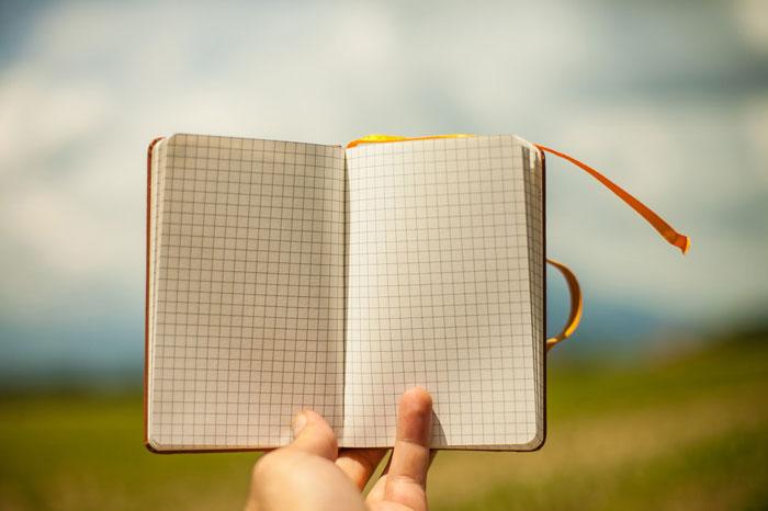 cuaderno en blanco, diario, notebook, página en blanco, escribir