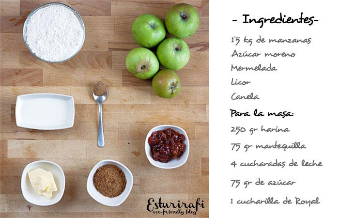 Para hacer la tarta de manzana necesitarás 1,5 kg de manzanas, azúcar para darle dulzor a la tarta (depende de la acidez de las manzanas), mermelada para decorar, licor y canela en polvo.  Para la masa de la tarta necesitas: 250 gr de harina, 75 gr de mantequilla a temperatura ambiente, 4 cucharadas de leche, 75 gr de azúcar y 1 cucharilla de Royal.