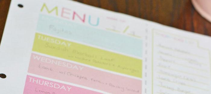 Planificar, organizar, menú semanal y compra