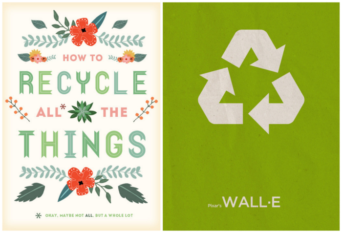 Imagenes How to recycle all the things y ilustración de walle